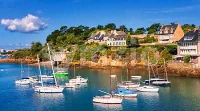 Seaside villas on a hill on atlantic coast, Brittany, France Stock Photo