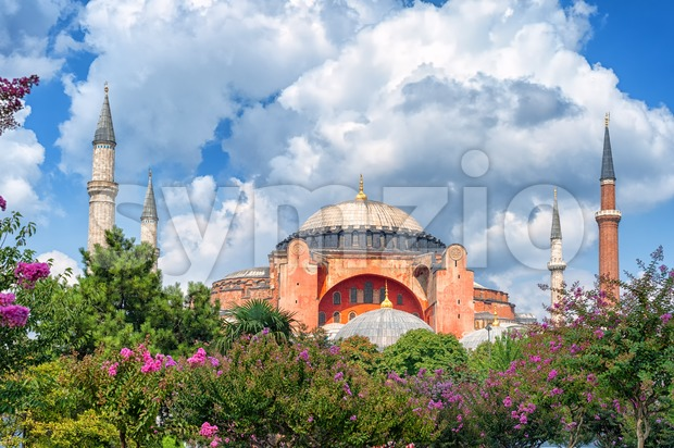 Hagia Sophia and minarets, Istanbul, Turkey Stock Photo