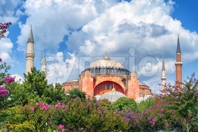 Hagia Sophia and minarets, Istanbul, Turkey Stock Photo