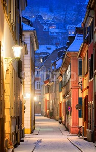 Narrow side street in Heidelberg old town, Germany Stock Photo