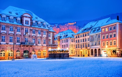 Medieval german town Heidelberg in winter, Germany Stock Photo