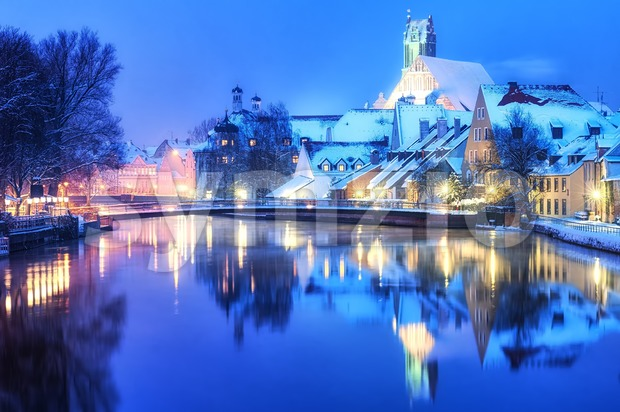 Christmas winter evening in small german town, Germany Stock Photo