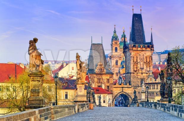 Charles Bridge in Prague old town, Czech Republic Stock Photo