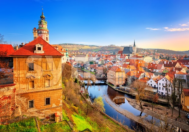 Cesky Krumlov Old Town, Czech Republic Stock Photo