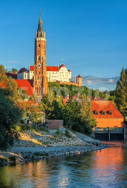 St Martin Cathedral and gothic castle in the medieval old town of Landshut on Isar river, Bavaria, Germany