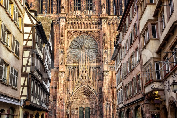 Detail view of the Strasbourg cathedral, Alsace, France Stock Photo