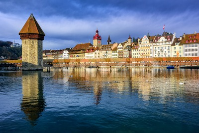 Chapel Bridge and Old Town Lucerne, Switzerland Stock Photo