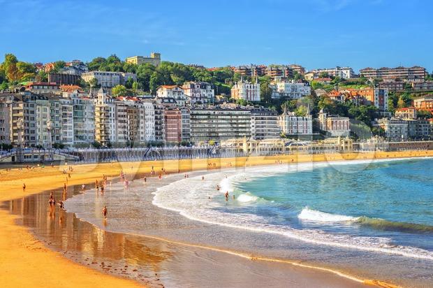 Sand beach in San Sebastian, Spain Stock Photo