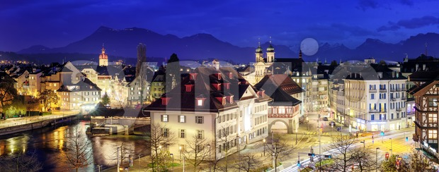 Lucerne, Switzerland, panoramic view at evening Stock Photo