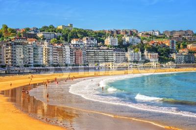Sand beach in San Sebastian, Spain Stock Photo