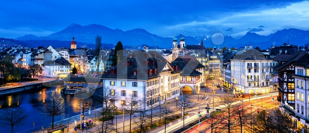 Old town of Lucerne, Switzerland, at evening Stock Photo
