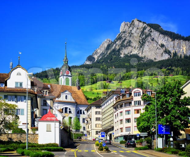 Schwyz town in Alps mountains, Central Switerland Stock Photo