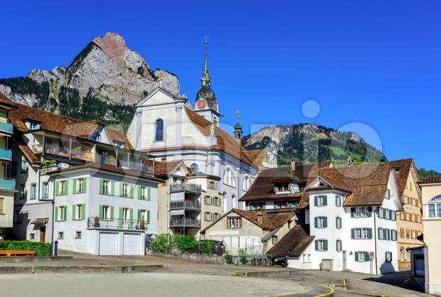 The little town of Schwyz in central Switzerland Stock Photo