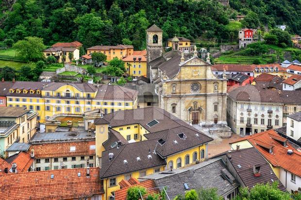 Historical old town of Bellinzona in canton Ticino, Switzerland