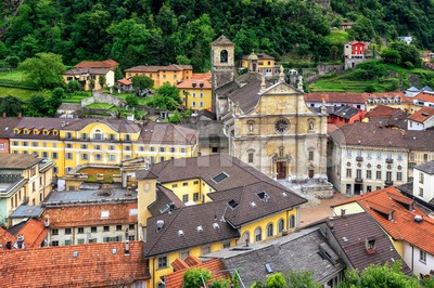 Old town of Bellinzona, canton Ticino, Switzerland Stock Photo