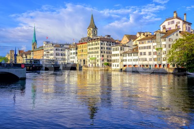 Old town of Zurich with Clock Tower, Switzerland Stock Photo