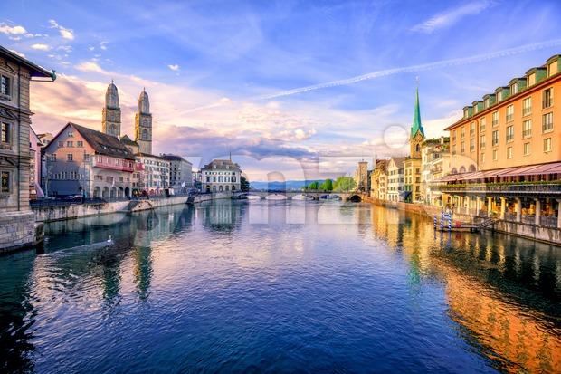 Old town of Zurich on sunrise, Switzerland Stock Photo
