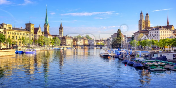 Panoramic view of the old town of Zurich, Switzerland Stock Photo
