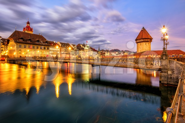 Old town of Lucerne, Switzerland, in the evening light Stock Photo