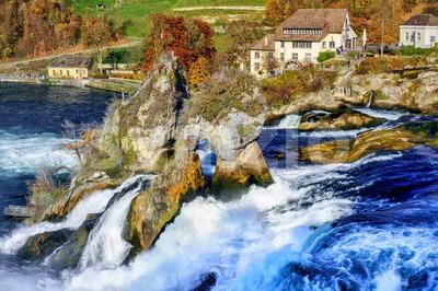 Rhine Falls in Switzerland, the largest waterfall in Europe Stock Photo