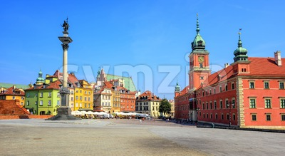 Colorful houses in the historic centre of Warsaw, Poland Stock Photo