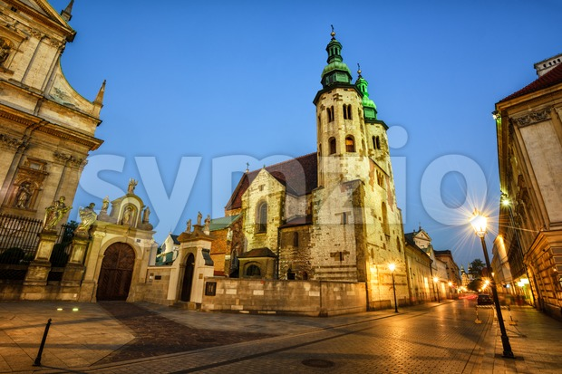 The romanesque Church of St. Andrew in the Old Town of Krakow, Poland, is one of the oldest buildings in ...