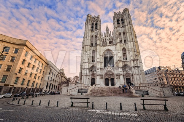 Gothic style Cathedral of Brussels, Belgium Stock Photo