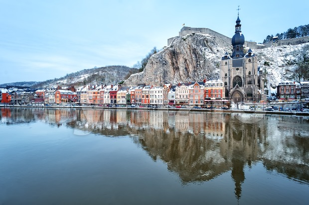 The citadel, Collegiate Church and river Meuse in Dinant, Belgium, in winter