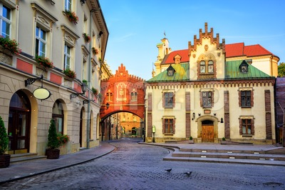 Little street in the old town of Krakow, Poland Stock Photo