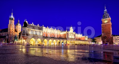 Panoramic view of Krakow Old Town Main Square, Poland Stock Photo