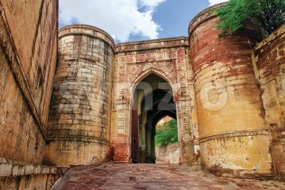 Massive stone gates of Mehrangarh Fort, Jodhpur, India Stock Photo