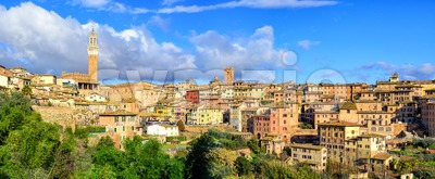 Panoramic view of Siena Old Town, Tuscany, Italy Stock Photo