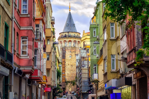 Galata Tower in the Old Town of Istanbul, Turkey Stock Photo