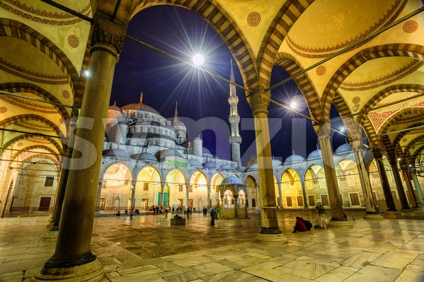 The inner courtyard and archway of the Sultan Ahmet Mosque (Blue Mosque) in Istanbul, Turkey