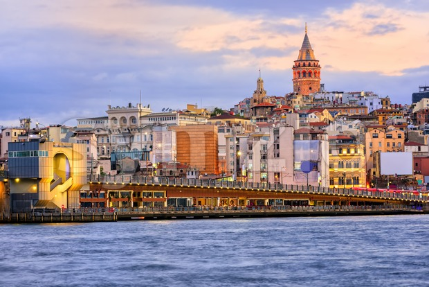 Galata Tower, Galata Bridge, Karakoy district and Golden Horn in the early morning light, Istanbul, Turkey