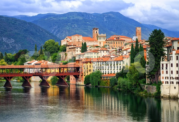 Bassano del Grappa, small medieval town in the Alps mountains, Veneto region, Italy