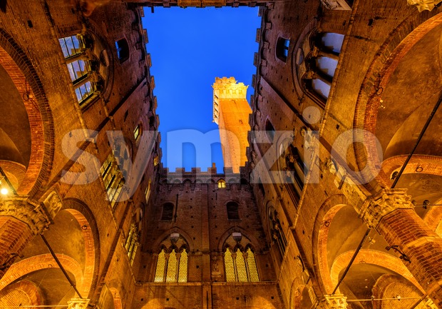 Torre del Mangia tower, Siena, Tuscany, Italy Stock Photo