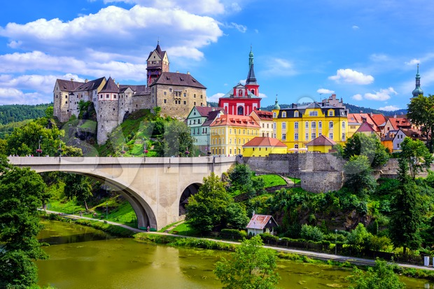 Town and Castle Loket near Karlovy Vary, Czech Republic Stock Photo