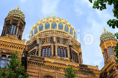 Golden Domes of the New Synagogue, Berlin, Germany Stock Photo