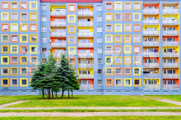 Facade of the modern colorful multi-storey house Stock Photo