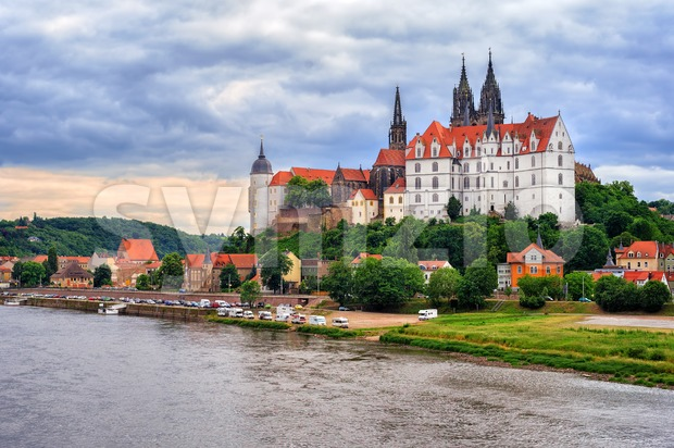 Meissen old town with castle and cathedral, Germany Stock Photo