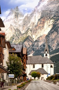 Alpine village in Dolomites Alps, Tirol, Italy Stock Photo