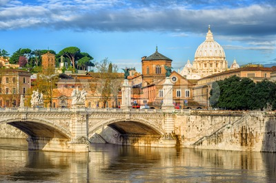 Tiber bridge and Dome of Vatican cathedral, Rome, Italy Stock Photo