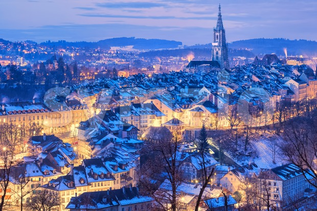 Bern Old Town snow covered in winter, Switzerland Stock Photo