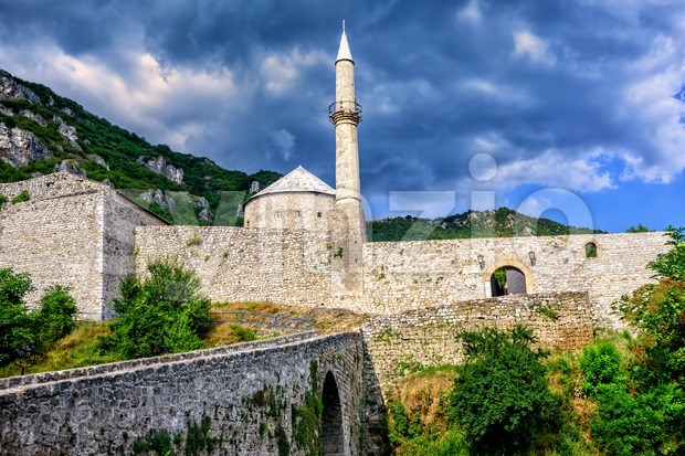 Historical ottoman stone fortress with a mosque in Travnik old town, Bosnia and Herzegovina
