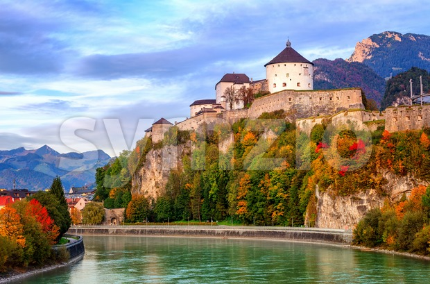 Castle Kufstein on the Inn river, Austria Stock Photo