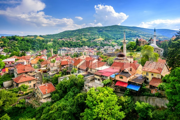 Panorama of the historical old town of Travnik, Bosnia Stock Photo