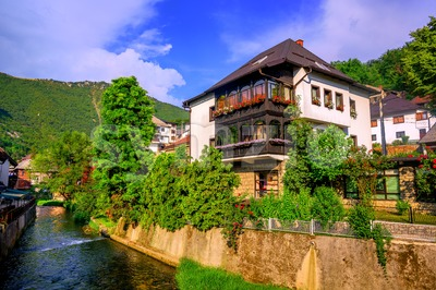 Traditional house in ottoman style, Travnik, Bosnia Stock Photo
