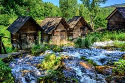 Jajce watermills, Bosnia and Herzegovina Stock Photo