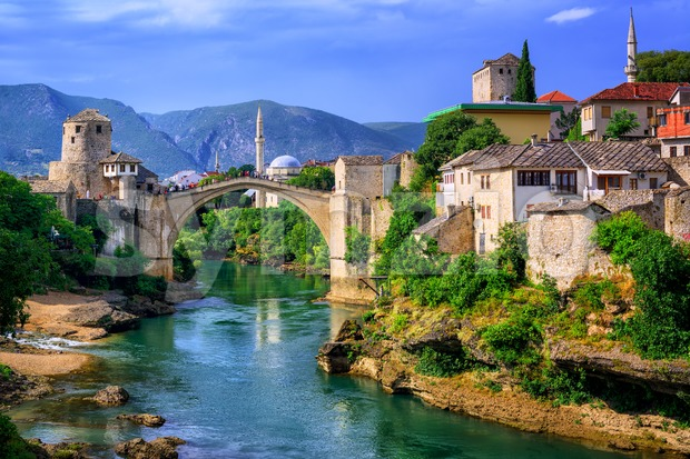 Old town of Mostar, Bosnia and Herzegovina, with Stari Most bridge, Neretva river and old mosques